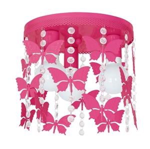 Decoland Dětské stropní svítidlo ELZA butterflies 3xE27/60W/230V tmavě růžová DE9792