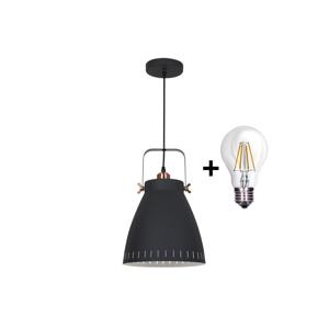 Solight LED Lustr 1xE27/8W/230V černá 26,5cm SL0087