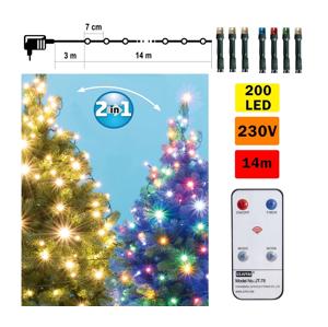 FK Technics LED Vánoční řetěz s dálkovým ovladačem 200xLED/230V IP44 FK0189